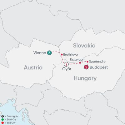 Map for Danube Explorer 2019 - 8 days from Vienna to Budapest