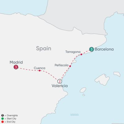 Map for Spanish City Explorer 2019 - 9 days from Barcelona to Madrid