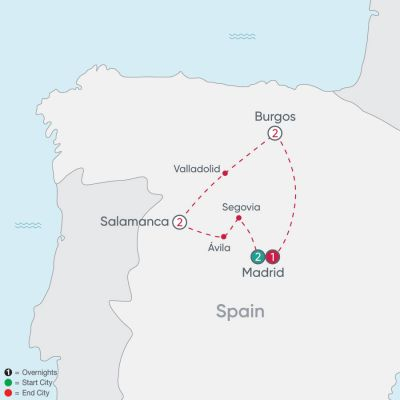 Map for Spanish Heritage Explorer 2019 - 8 days from Madrid to Madrid