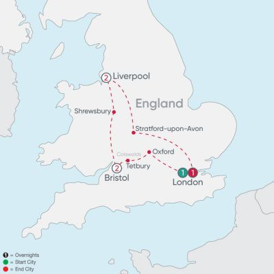 Map for England Explorer 2019 - 7 days from London to London