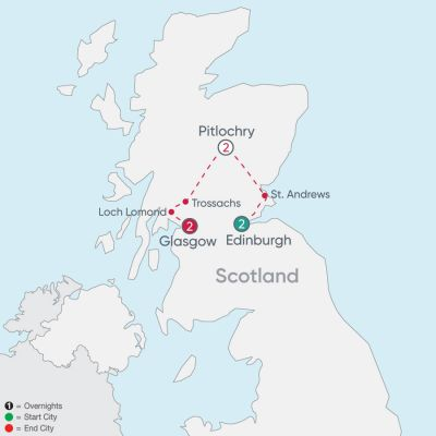 Map for Scotland Explorer 2019 - 7 days from Edinburgh to Glasgow