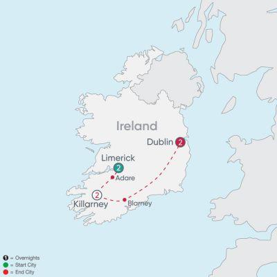 Map for Ireland Explorer 2019 - 7 days from Limerick to Dublin