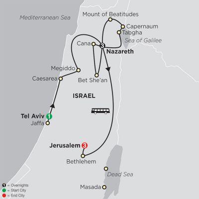 Map for Holy Land Discovery - Faith-Based Travel – Catholic Itinerary 2019 - 8 days from Tel Aviv to Jerusalem