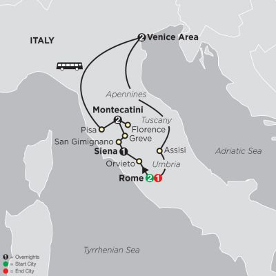 Map for The Splendors of Italy 2019 - 9 days from Rome to Rome
