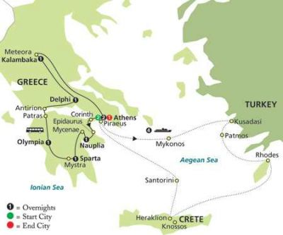 Map for Greece & Aegean Islands Cruise in Outside Stateroom 2019 - 15 days from Athens to Athens