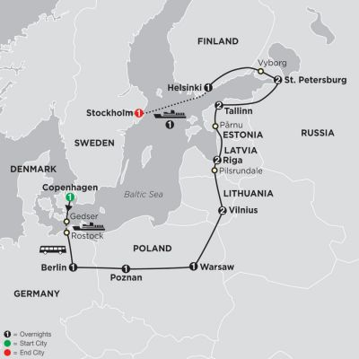 Map for The Baltic States, Russia & Scandinavia 2019 - 16 days from Copenhagen to Stockholm