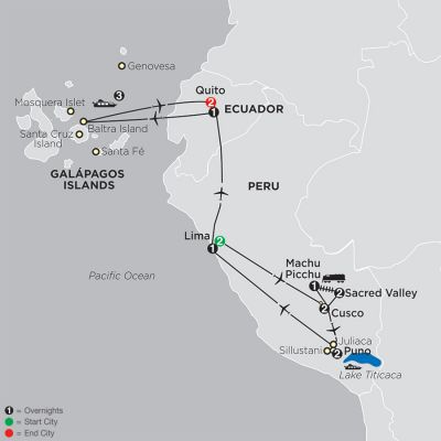 Map for Mysteries of the Inca Empire with Galapagos Cruise 2020 - 17 days from Lima to Quito