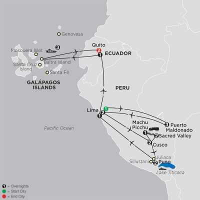 Map for Mysteries of the Inca Empire with Peru's Amazon & Galapagos Cruise 2020 - 21 days from Lima to Quito