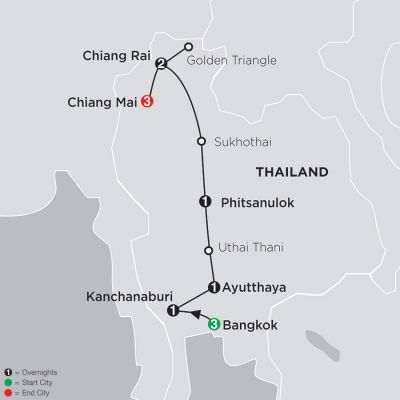 Map for Thailand Experience 2020 - 12 days from Bangkok to Chiang Mai