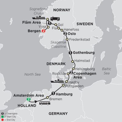Map for The Viking Trail 2020 - 12 days from Amsterdam to Bergen