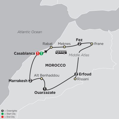 Map for Highlights of Morocco 2020 - 10 days from Casablanca to Casablanca