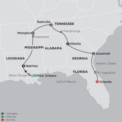 Map for The Old South & Florida 2020 - 13 Day Tour from New Orleans to Orlando