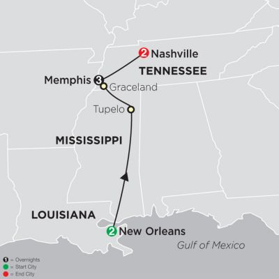 Map for Southern Sounds 2020 - 8 Day Tour from New Orleans to Nashville
