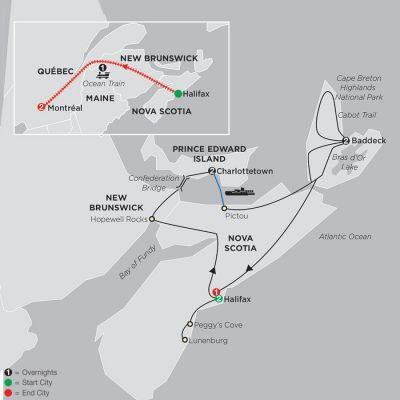 Map for Atlantic Canada's Coastal Wonders with Ocean train to Montreal 2020 - 11 days from Halifax to Montréal