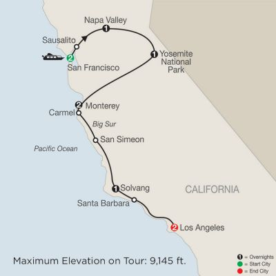 Map for California Classics 2019 - 10 days from San Francisco to Los Angeles