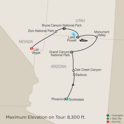 Map for Canyon Country Adventure 2019 - 8 days from Scottsdale to Las Vegas