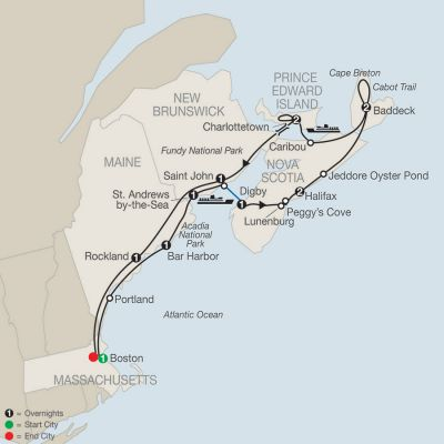Map for Maritimes Adventure 2019 - 13 days from Boston to Boston
