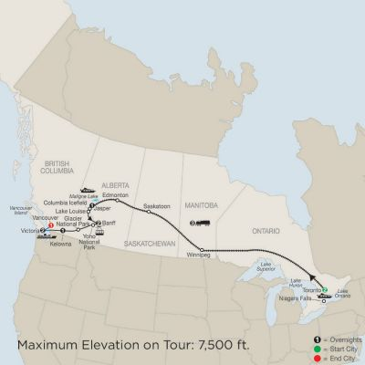 Map for Great Canadian Rail Journey 2019 - 13 days from Toronto to Vancouver
