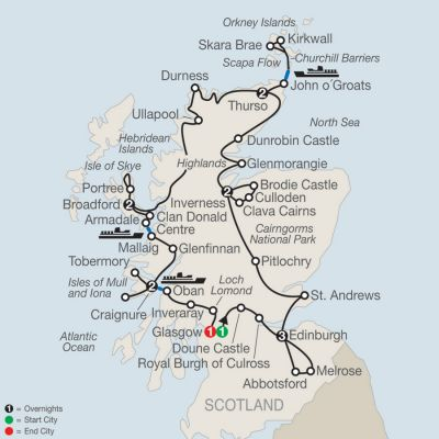 Map for Scottish Highlands & Islands 2019 - 14 days from Glasgow to Glasgow