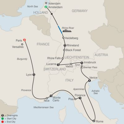 Map for European Tapestry 2019 - 14 days from Amsterdam to Paris