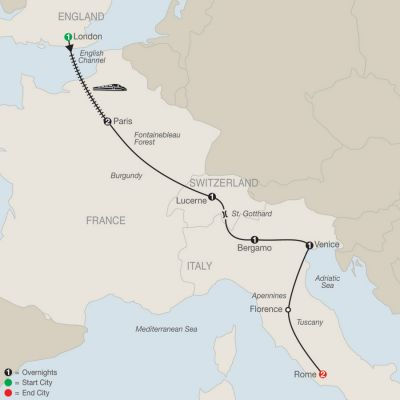 Map for European Highlights 2019 - 9 days from London to Rome
