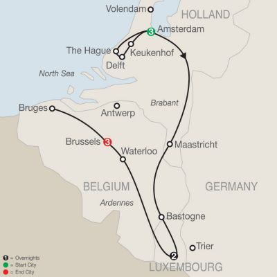 Map for Holland, Luxembourg & Belgium 2019 - 9 days from Amsterdam to Brussels