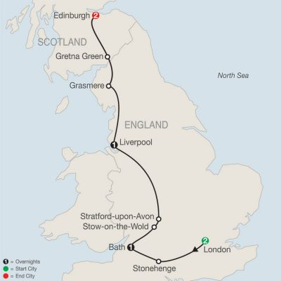 Map for British Escape 2019 - 7 days from London to Edinburgh