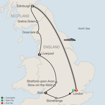 Map for British Escape with Return to London 2019 - 8 days from London to London