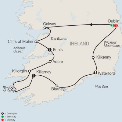 Map for Irish Escape 2019 - 7 days from Dublin to Dublin