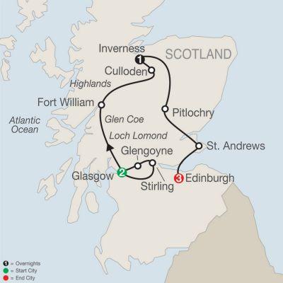Map for Scottish Escape 2019 - 7 days from Glasgow to Edinburgh