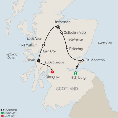 Map for Scottish Highlands Escape 2019 - 6 days from Edinburgh to Glasgow