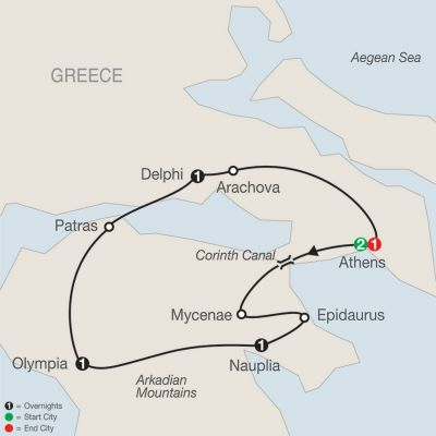 Map for Greek Escape 2019 - 7 days from Athens to Athens