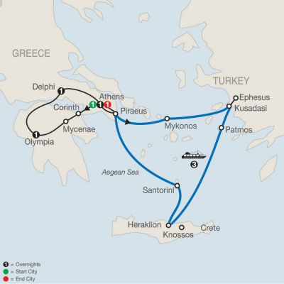 Map for Highlights of Greece Escape with 3-night Iconic Aegean Cruise 2019 - 9 days from Athens to Athens