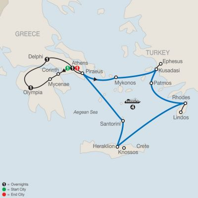 Map for Highlights of Greece Escape with 4-night Iconic Aegean Cruise 2019 - 10 days from Athens to Athens