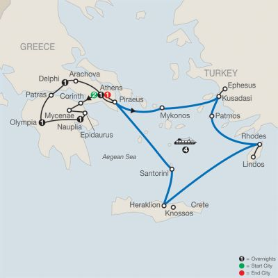 Map for Greek Escape with 4-Night Iconic Aegean Cruise 2019 - 12 days from Athens to Athens