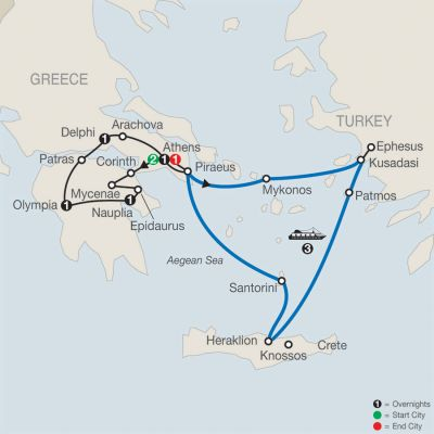 Map for Greek Escape with 3-Night Iconic Aegean Cruise 2019 - 11 days from Athens to Athens