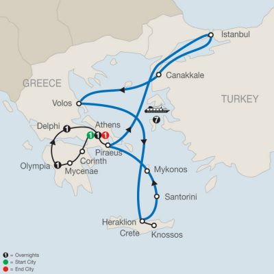 Map for Highlights of Greece Escape with 7-night Eclectic Aegean Cruise 2019 - 13 days from Athens to Athens