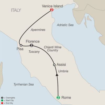 Map for Italian Escape 2019 - 7 days from Rome to Venice