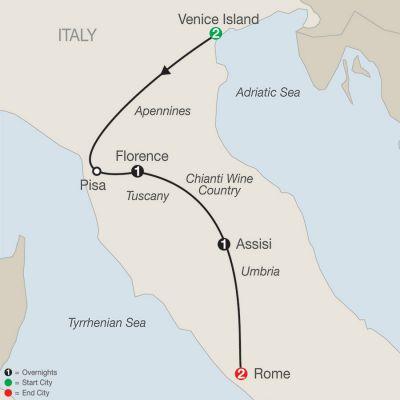 Map for Bella Italia Escape 2019 - 7 days from Venice to Rome