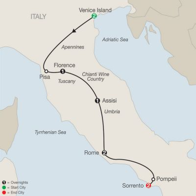 Map for Bella Italia Escape with Sorrento 2019 - 9 days from Venice to Sorrento