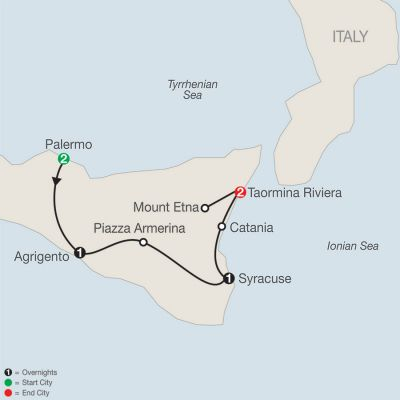 Map for Sicilian Escape 2019 - 7 days from Palermo to Taormina Riviera