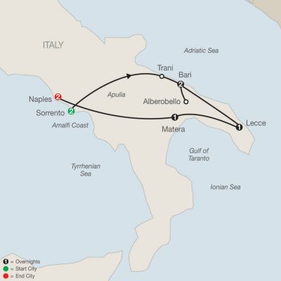 Map for Southern Italy Escape 2019 - 9 days from Sorrento to Naples