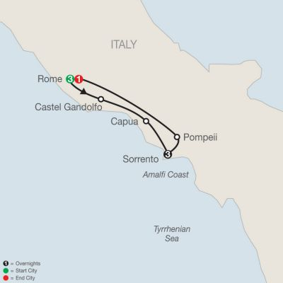 Map for Rome & Sorrento Escape 2019 - 8 days from Rome to Rome