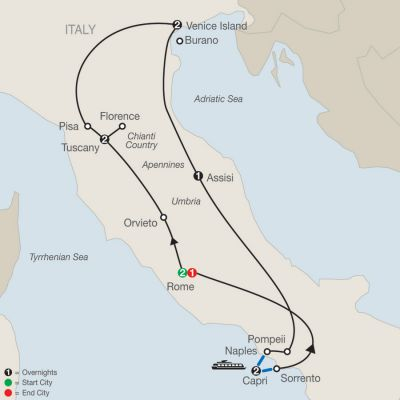 Map for The Best of Italy 2019 - 11 days from Rome to Rome