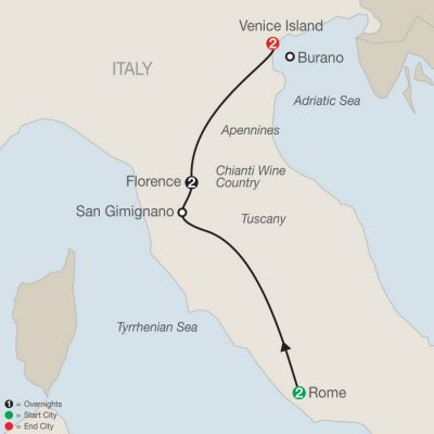 Map for A Taste of Italy 2019 - 7 days from Rome to Venice
