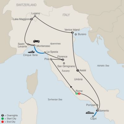 Map for Italian Mosaic 2019 - 13 days from Rome to Rome