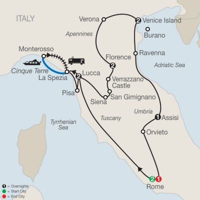 Map for Italian Treasures 2019 - 11 days from Rome to Rome