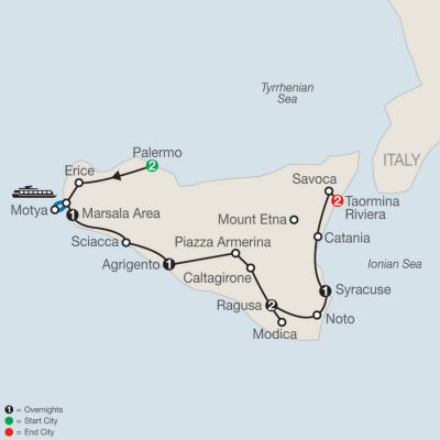 Map for The Sicilian 2019 - 10 days from Palermo to Taormina Riviera