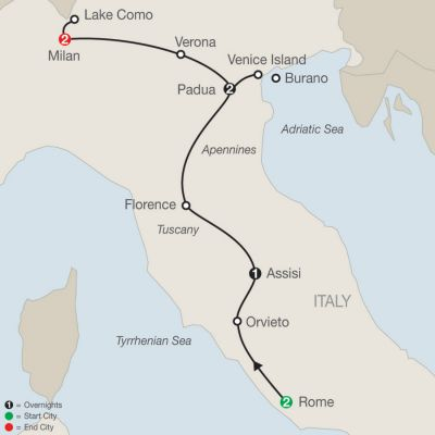Map for Italian Vista 2019 - 8 days from Rome to Milan