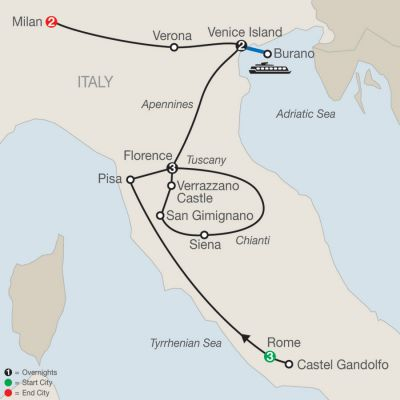 Map for Italian Highlights 2019 - 11 days from Rome to Milan